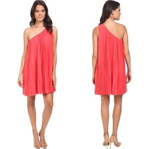 Trina Turk One Shoulder Coral Pleated Dress XS